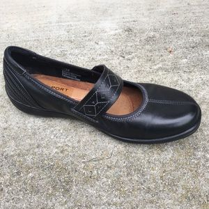 ROCKPORT COBB HILL Petra Black Leather Mary Jane's